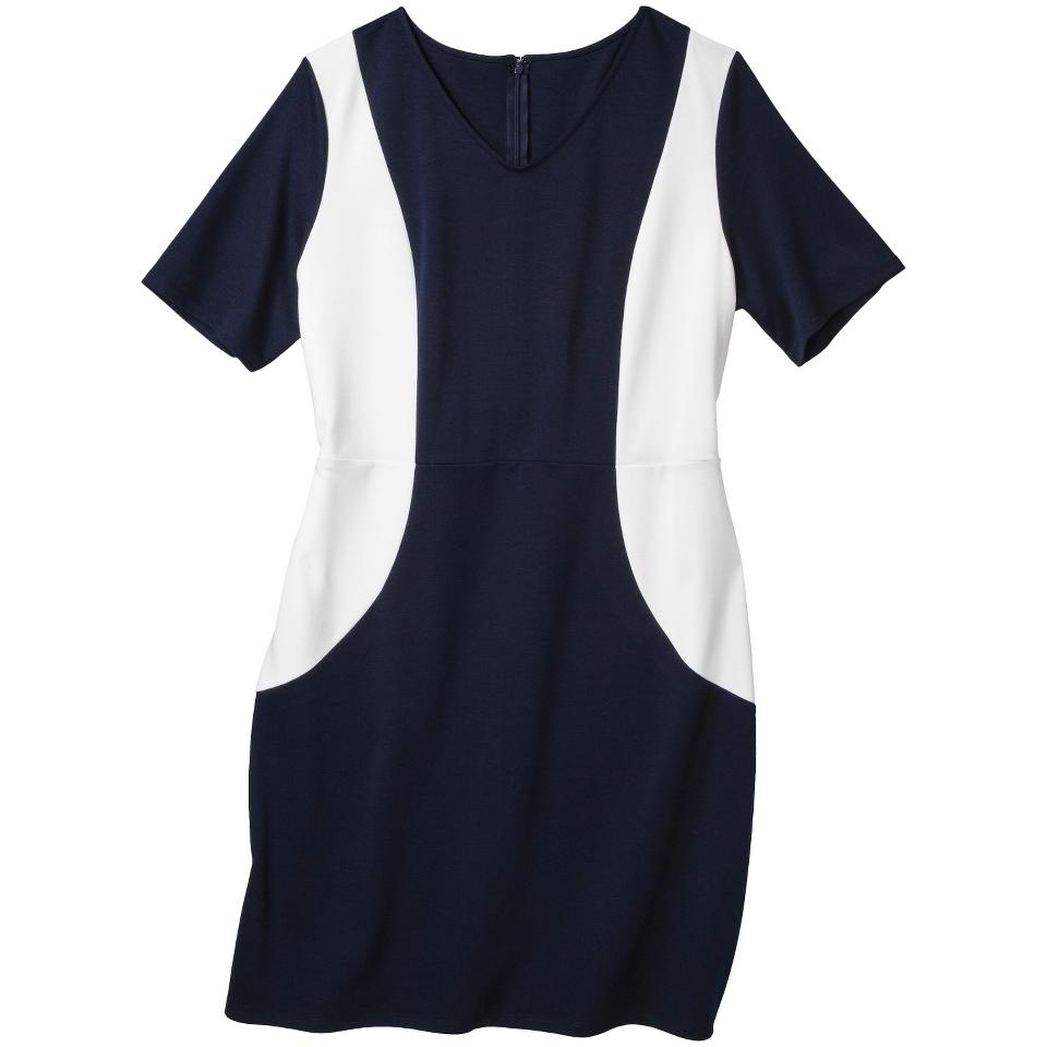 Merona Womens Plus Size V Neck Colorblock Ponte Dress   Navy/Cream 3