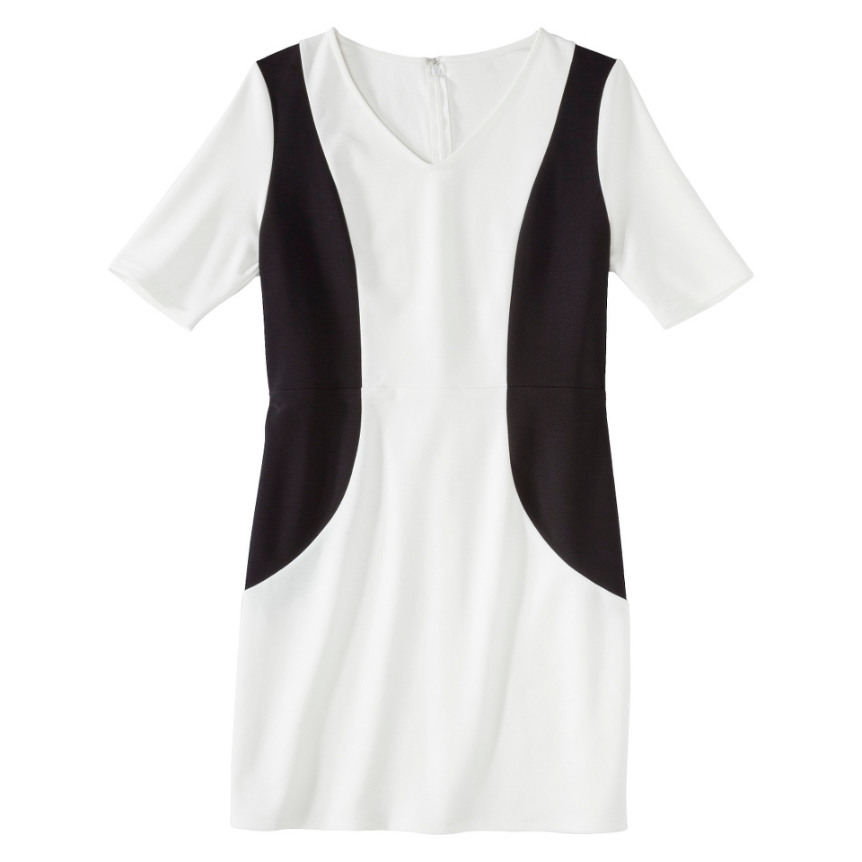 Merona Petites V Neck Colorblock Ponte Dress   Cream/Black XXLP