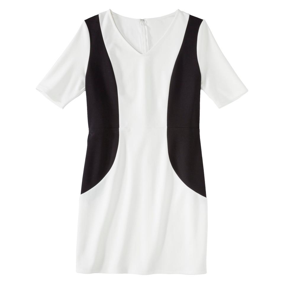Merona Petites V Neck Colorblock Ponte Dress   Cream/Black XSP