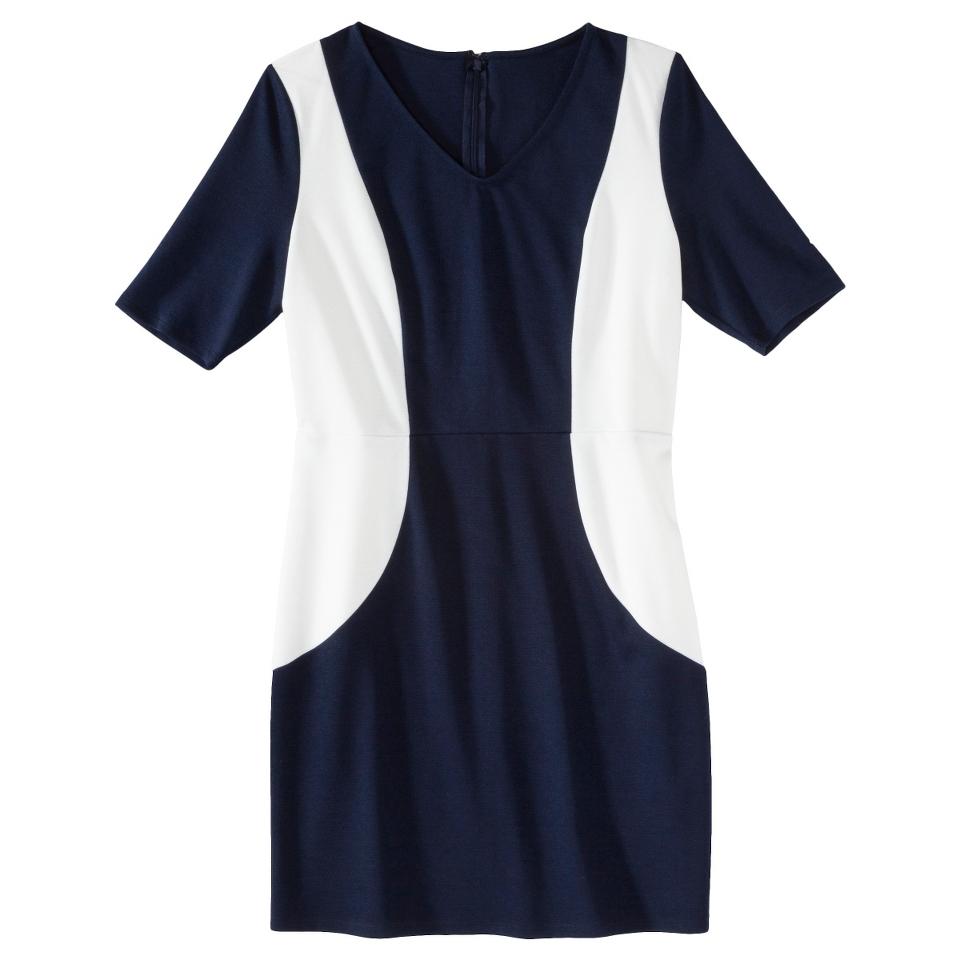 Merona Petites V Neck Colorblock Ponte Dress   Navy/Cream XXLP