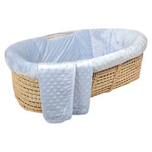 Tadpoles Dimple Velour Baby Moses Basket Set - Blue