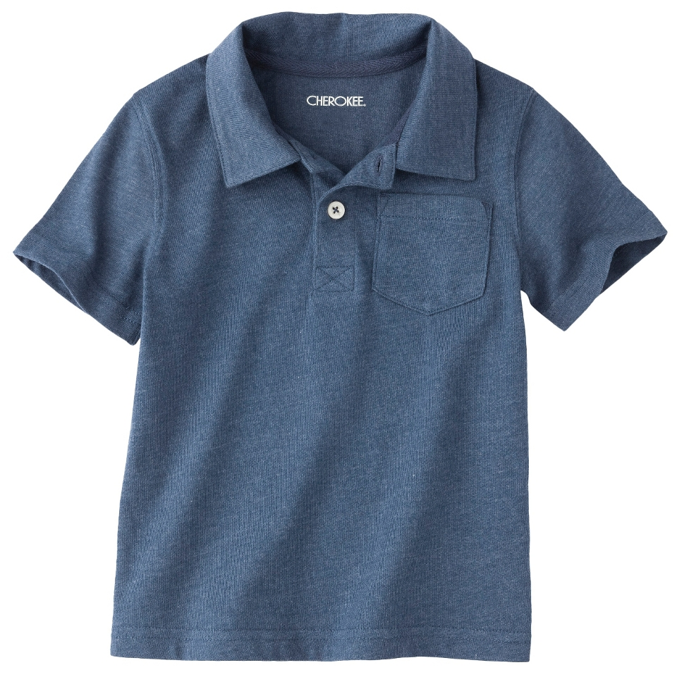 Cherokee Infant Toddler Boys Short Sleeve Polo   Indie Blue 4T