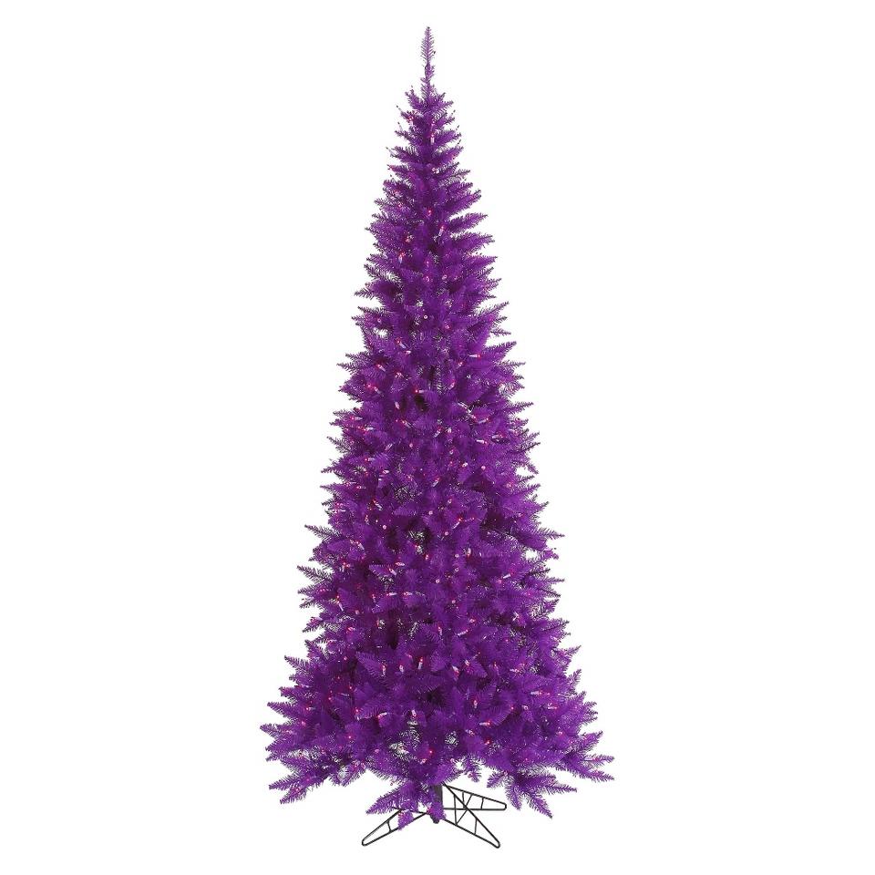 7.5 Pre Lit Purple Slim Fir Tree   Purple Lights
