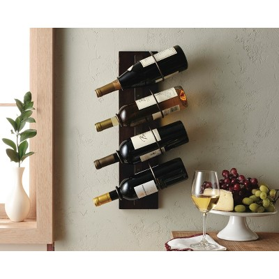 4-Bottle Wine Holder with Metal Rings - Chocolate