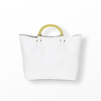 Tote Handbag With Clear Acrylic Handle - A New Day™ Cream