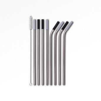 9pc Stainless Steel Straws with Cleaning Brush - Room Essentials™