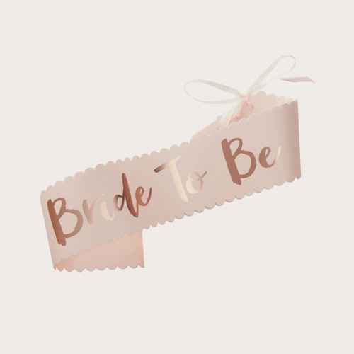 """Bride To Be"" Wedding Sash Pink"
