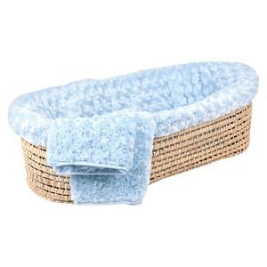 Tadpoles Twisted Fur Baby Moses Basket Set - Light Blue