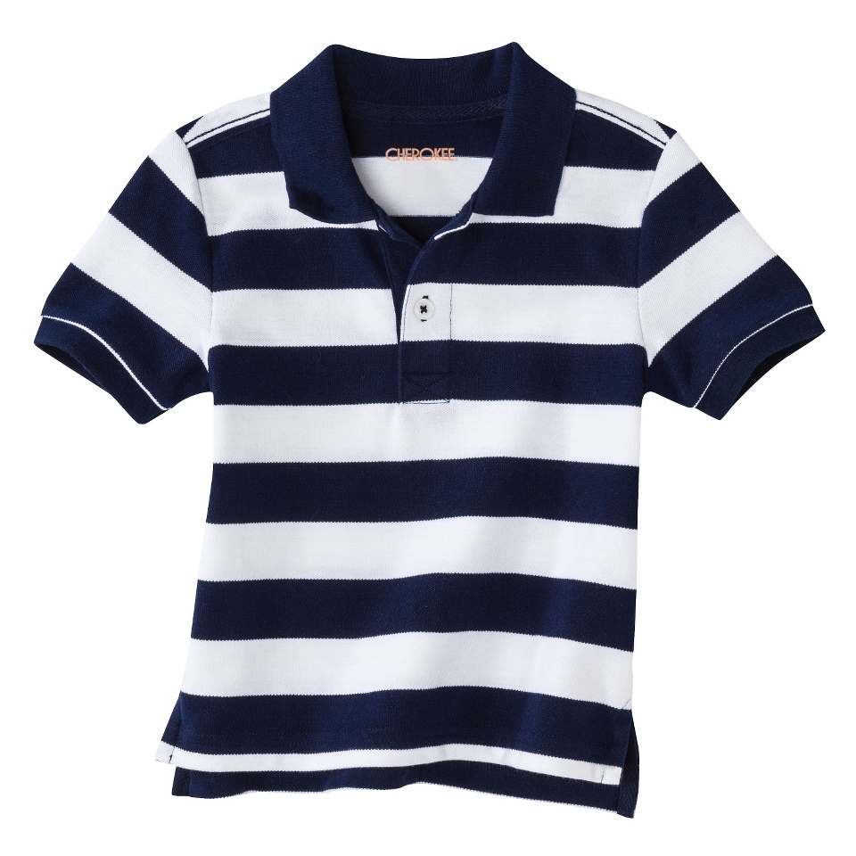 Cherokee Infant Toddler Boys Short Sleeve Rugby Striped Polo Shirt   Fresh