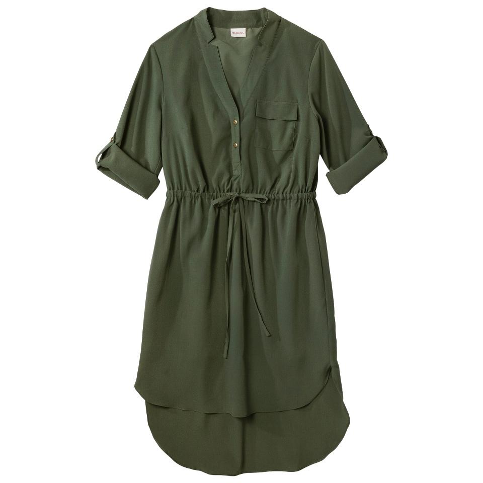 Merona Womens Drawstring Shirt Dress   Moss   XS