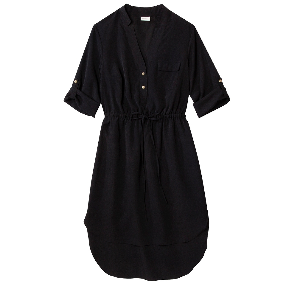 Merona Womens Drawstring Shirt Dress   Black   M