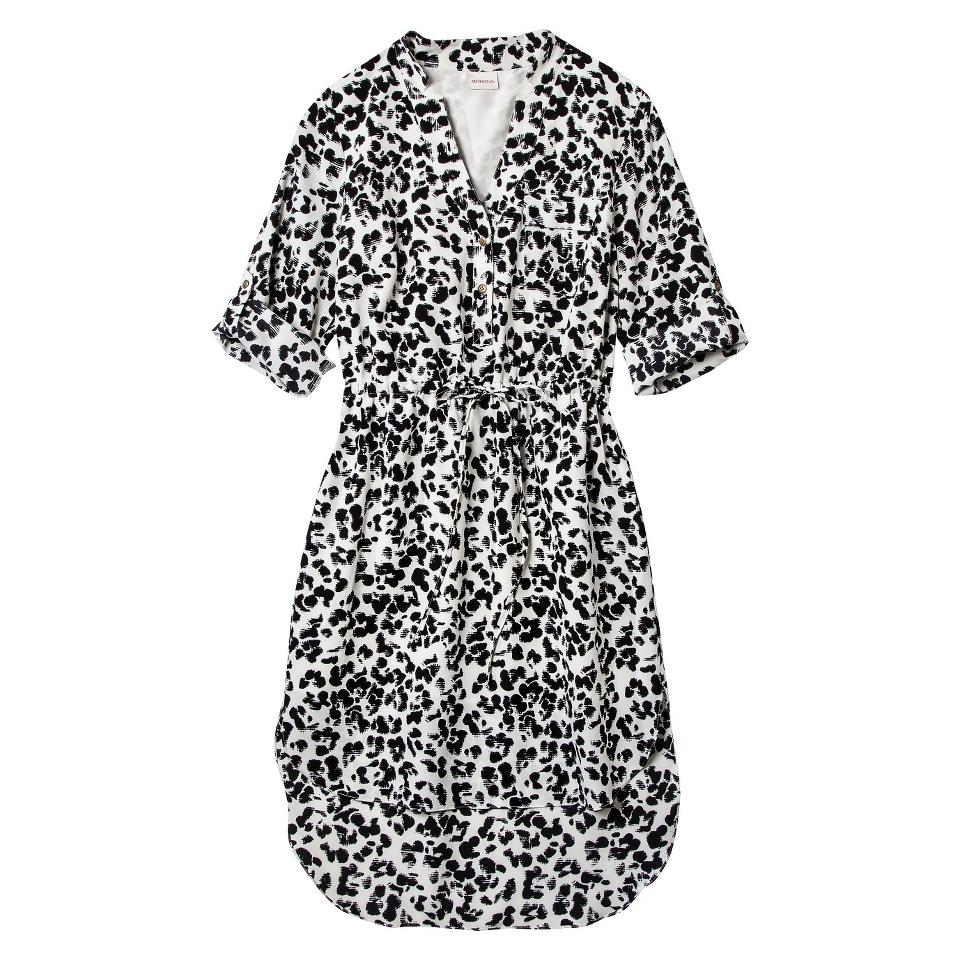 Merona Womens Drawstring Shirt Dress   Animal Print   L