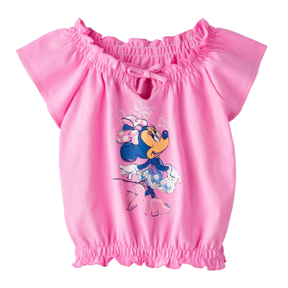 Disney Minnie Mouse Infant Toddler Girls Cap Sleeve Peasant Tee   Pink 3T
