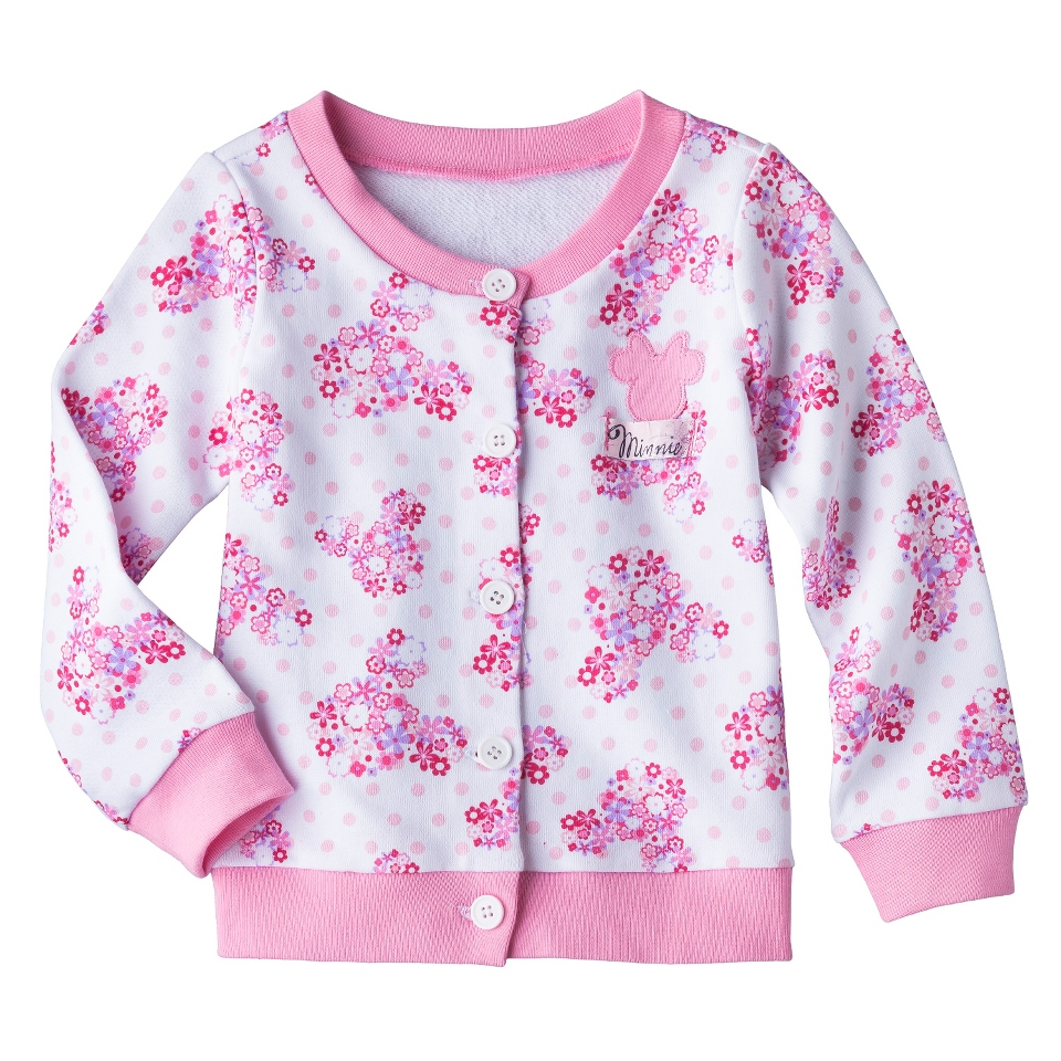 Disney Minnie Mouse Infant Toddler Girls Floral Cardigan   White/Pink 3T