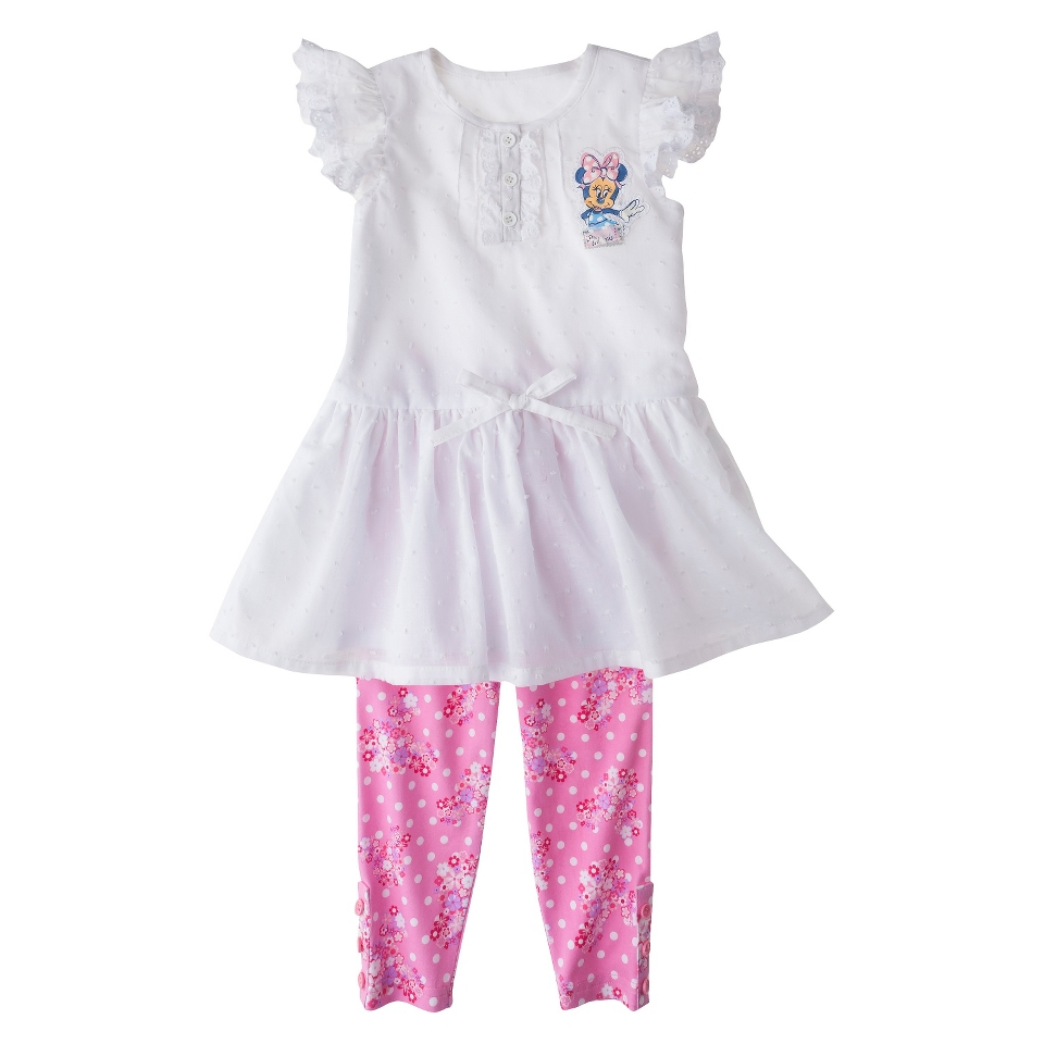 Disney Minnie Mouse Infant Toddler Girls Cap Sleeve Tunic and Floral Legging