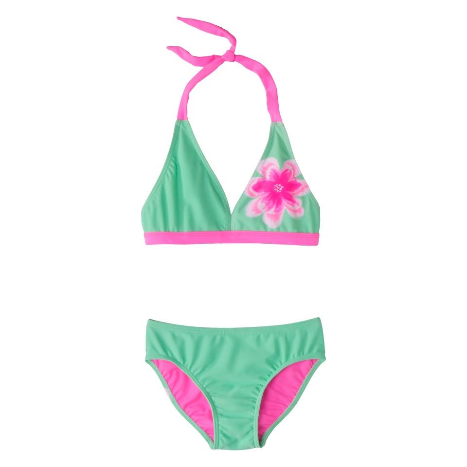 Girls 2 Piece Halter Flower Bikini Swimsuit Set   Mint M