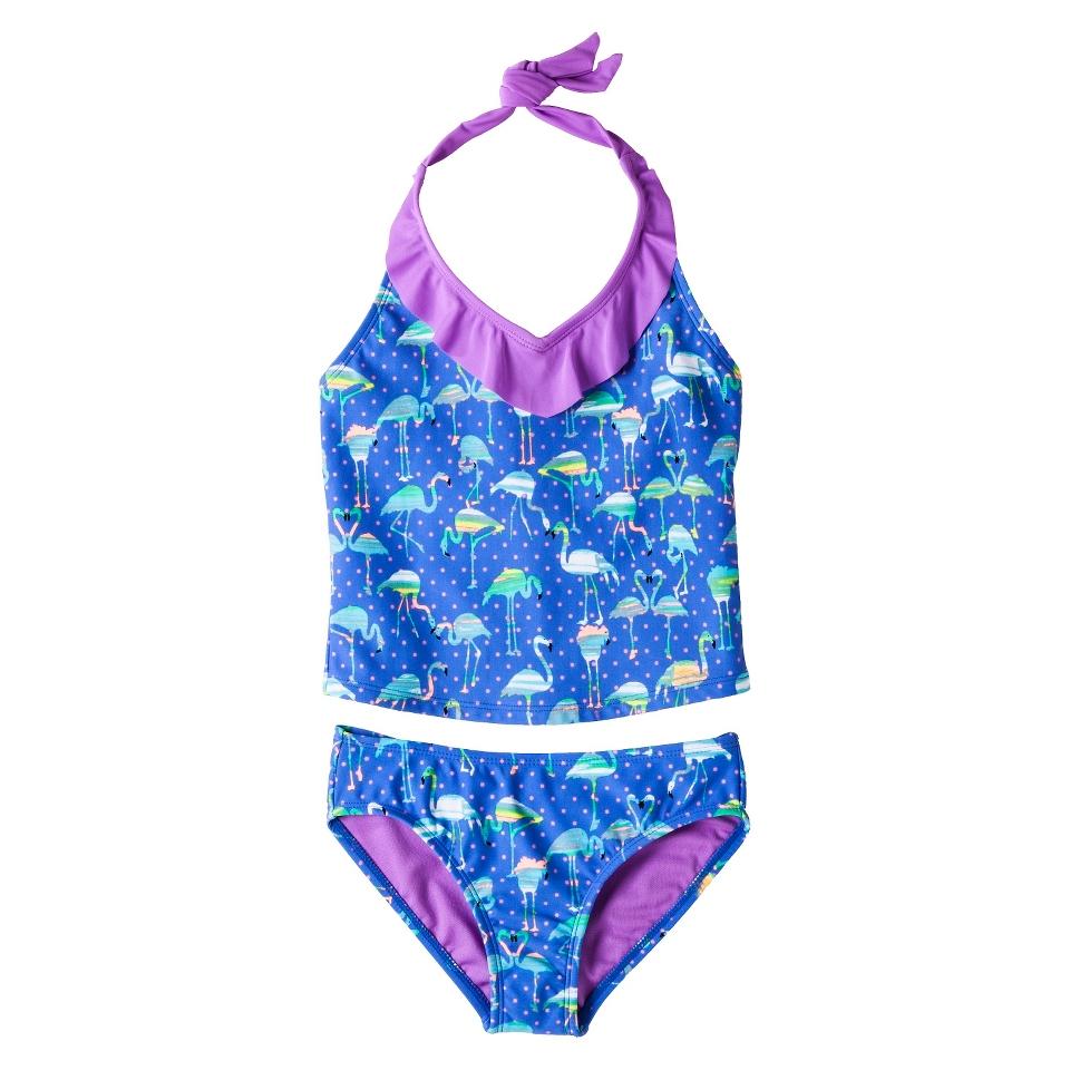 Girls 2 Piece Halter Flamingo Tankini Swimsuit Set   Blue XL