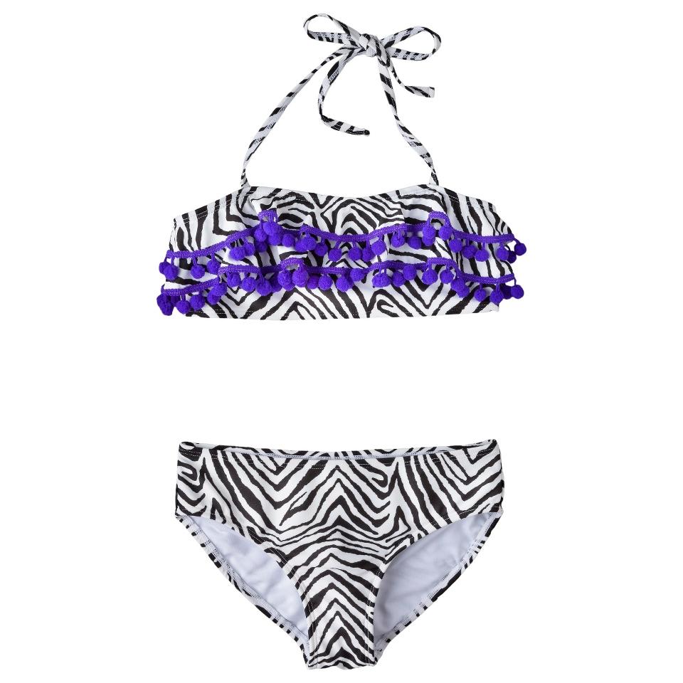 Girls 2 Piece Halter Zebra Print Bandeau Swimsuit Set   Black/White L