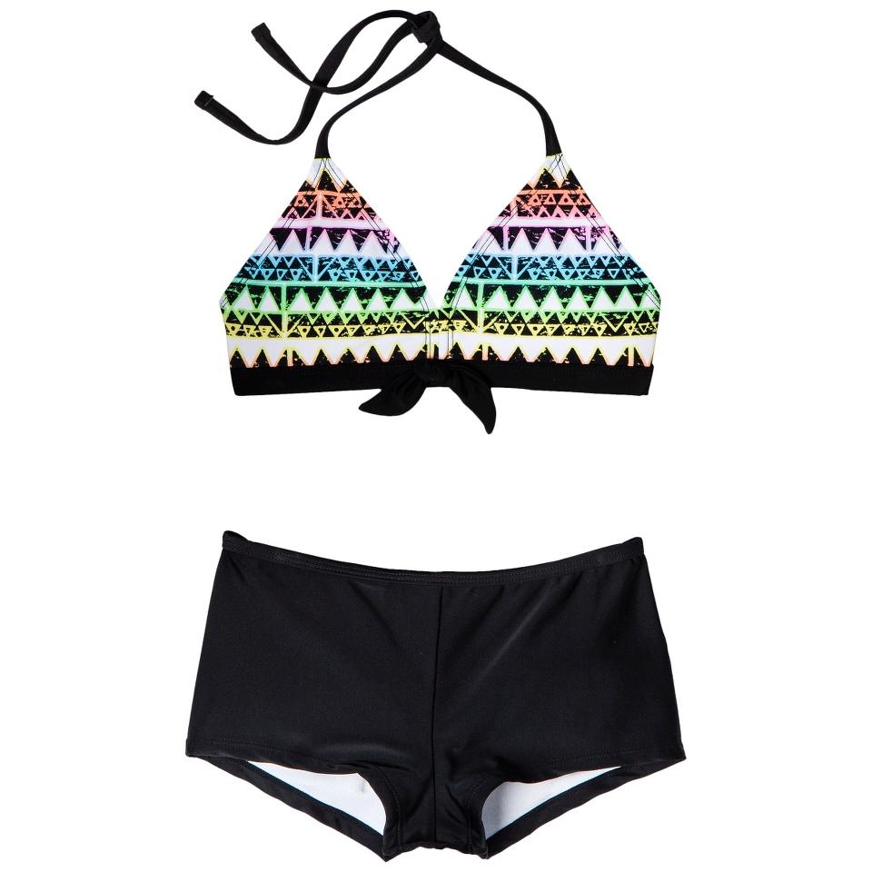 Girls 2 Piece Halter Geometric Print Bikini Swimsuit Set   Black XS