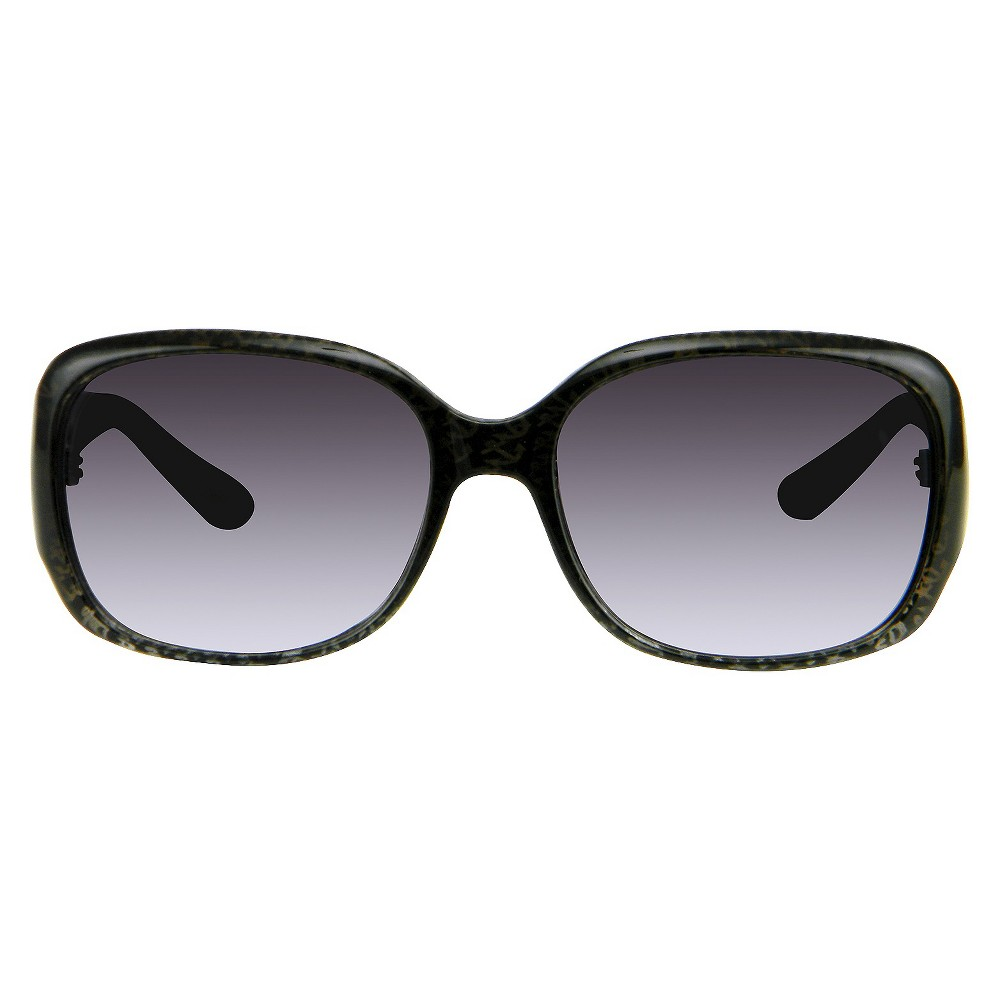 Womens Rectangle Sunglasses with Print Detail - Black, Size: Medium, Galaxy Black