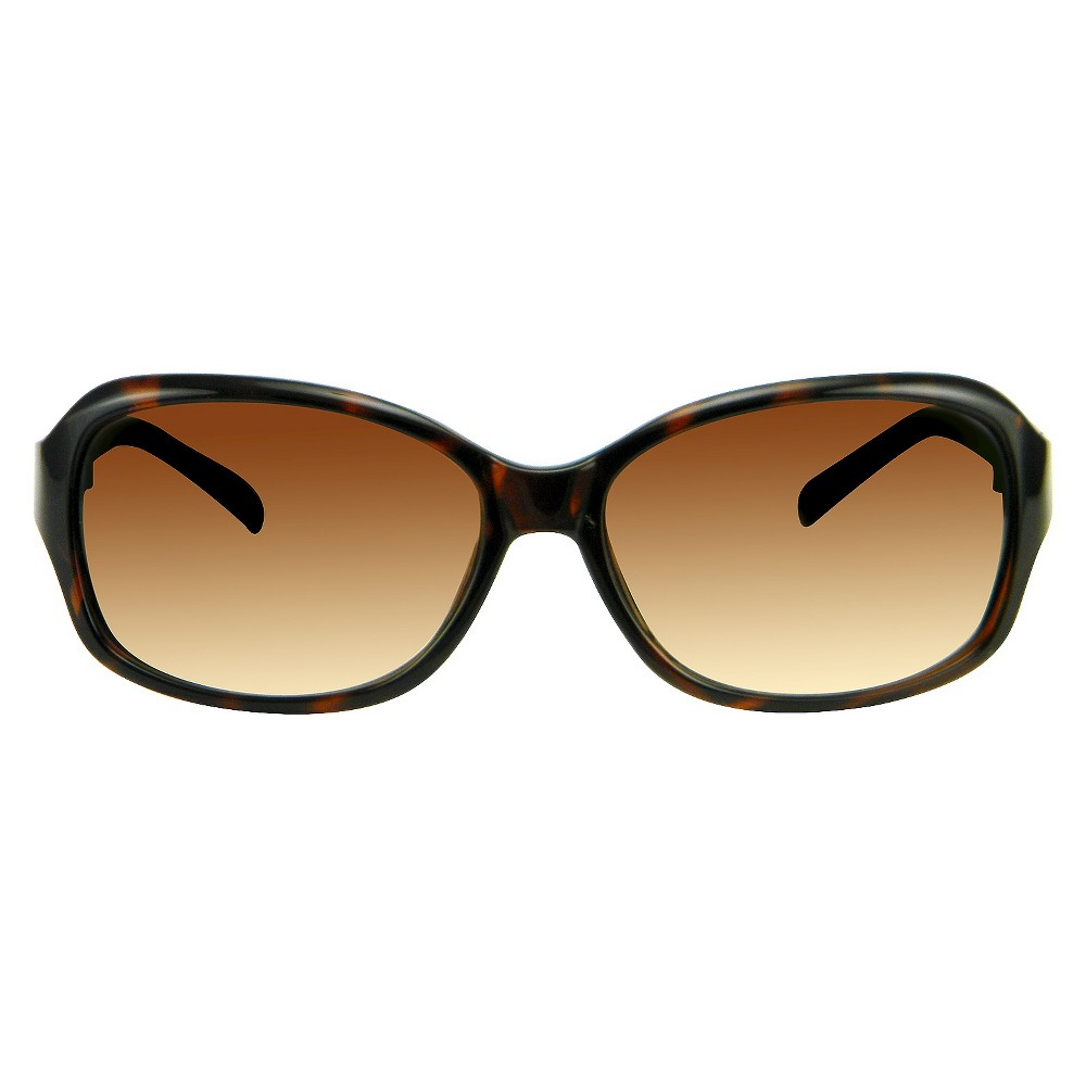 Womens Rectangle Sunglasses with Metal Detail - Tortoise, Size: Medium, Brown