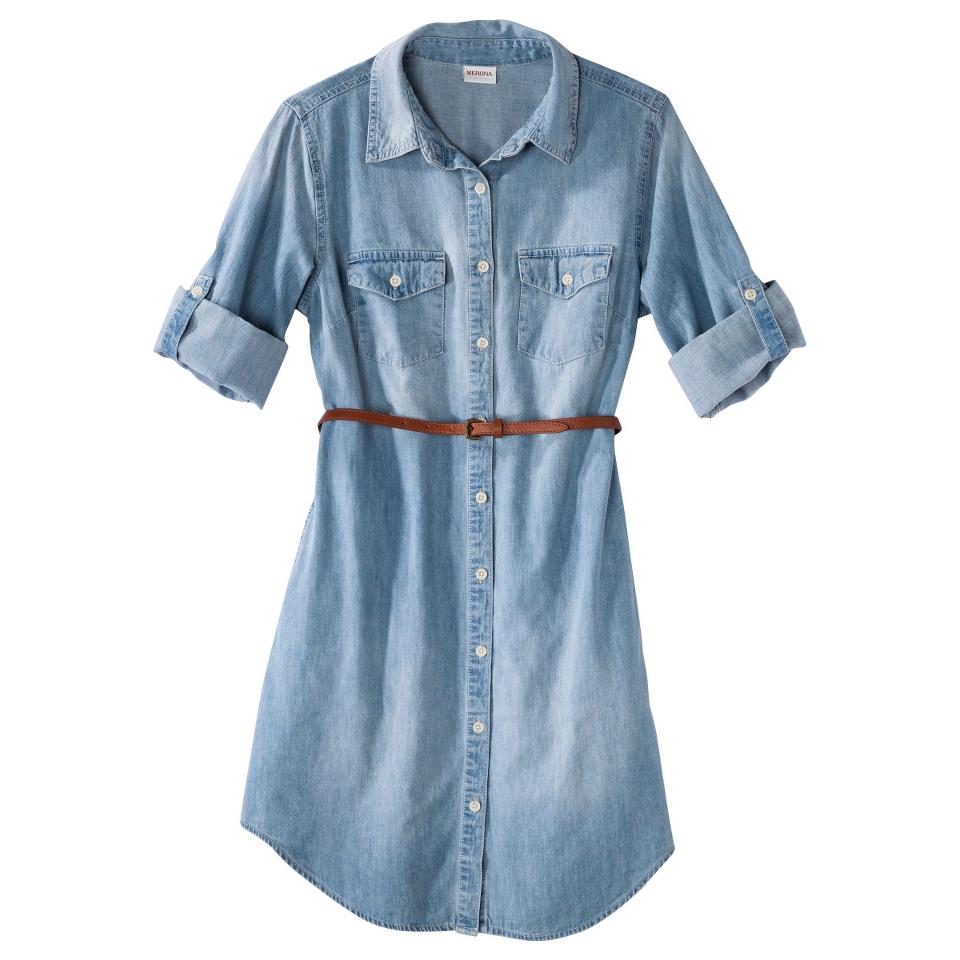Merona Womens Denim Belted Shirt Dress   Blue   L