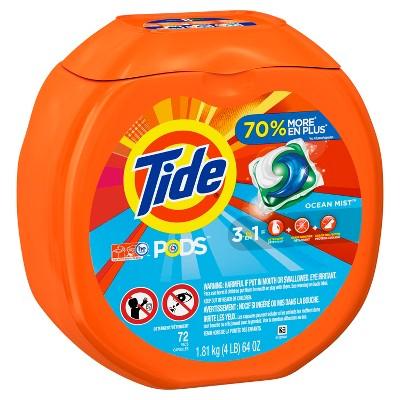 Tide Pods Ocean Mist Scent Laundry Detergent Pacs 72 ct