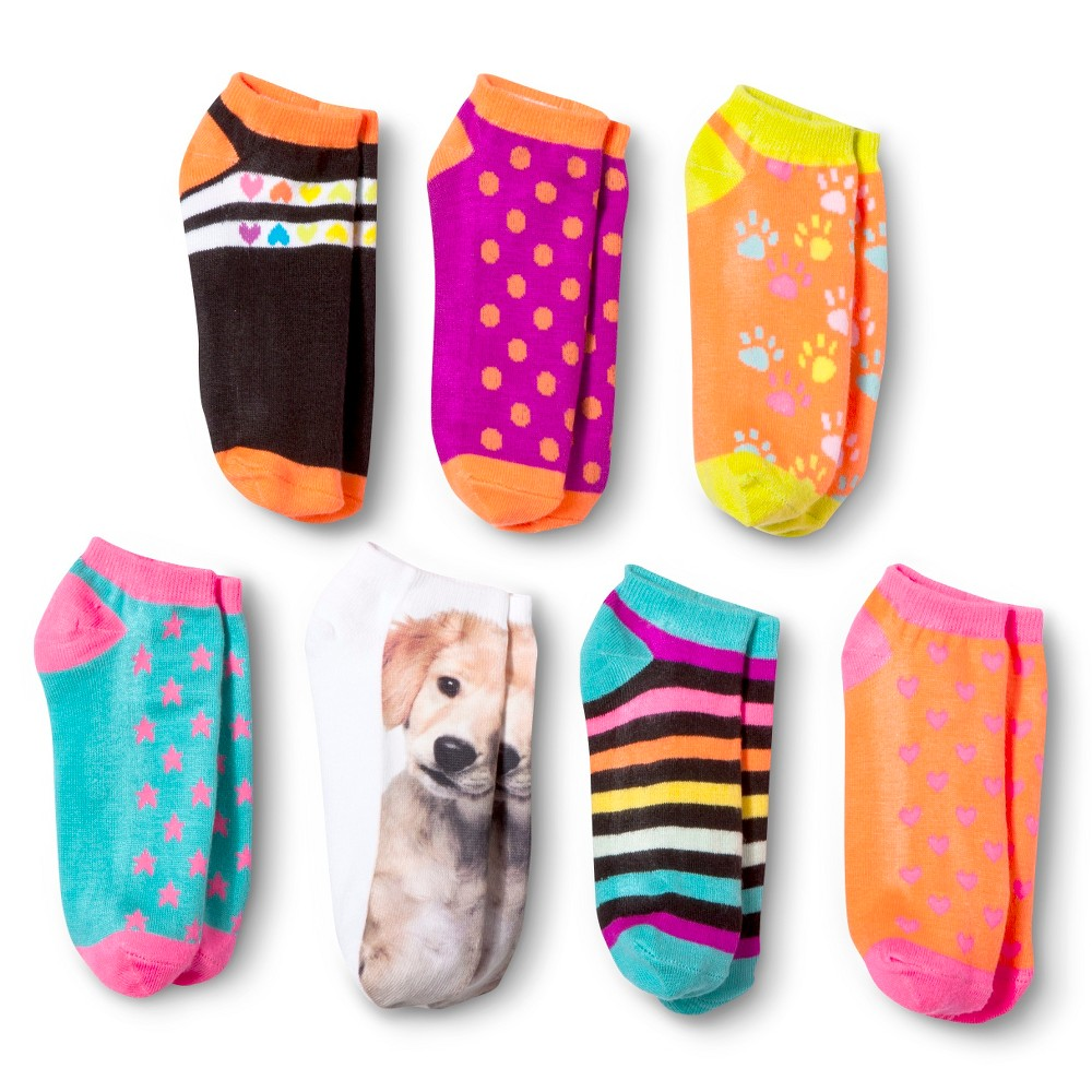 Girls Low Cut Puppy Patterned Socks 7pk - Circo Assorted Colors 9-2.5, Multicolored