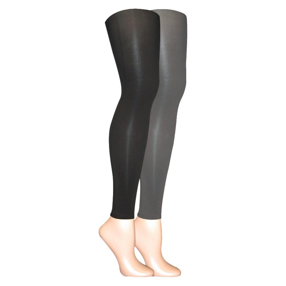 Muk Luks Womens 2-Pack Microfiber Footless Tights - Gray L