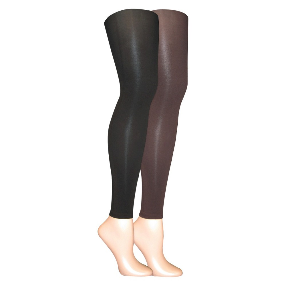 Muk Luks Womens 2-Pack Microfiber Footless Tights - Brown S