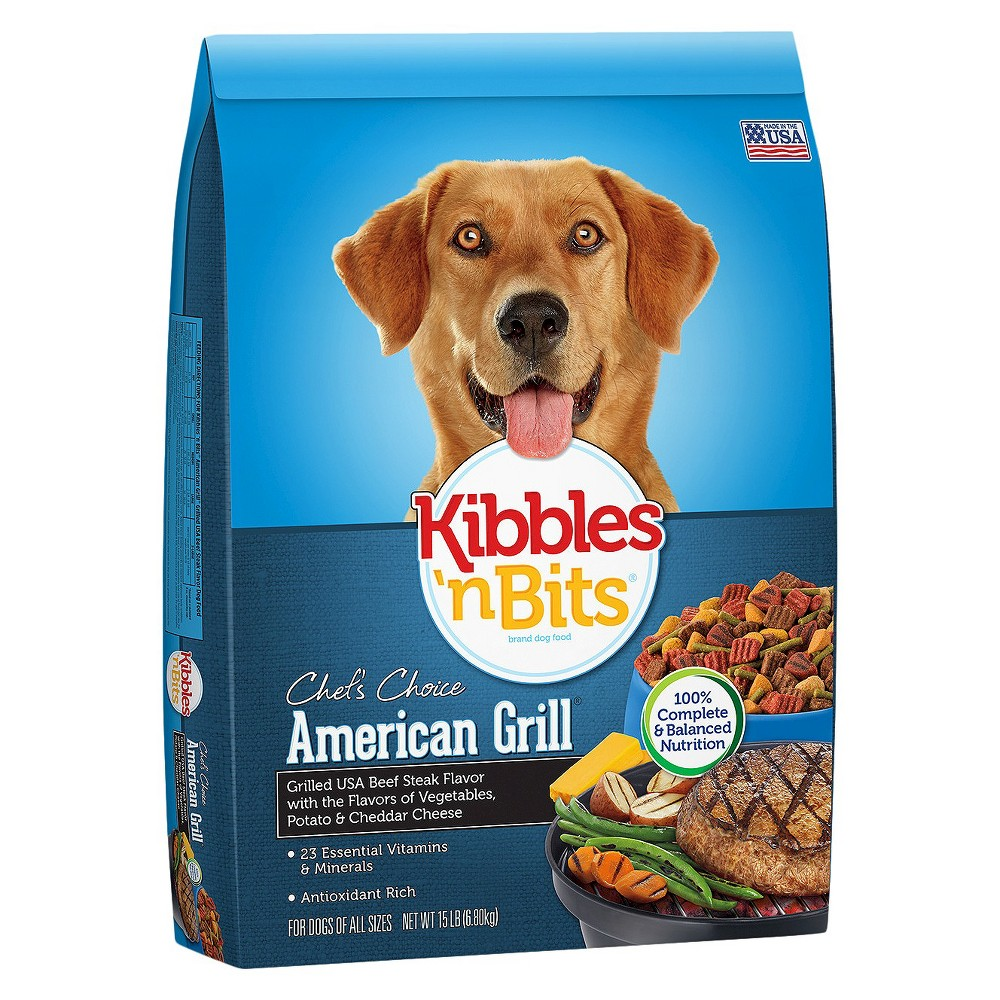 Kibbles 'n Bits American Grill Beef,  Vegetable,  Potato,  and Cheddar Cheese - Dry Dog Food - 15lb Bag