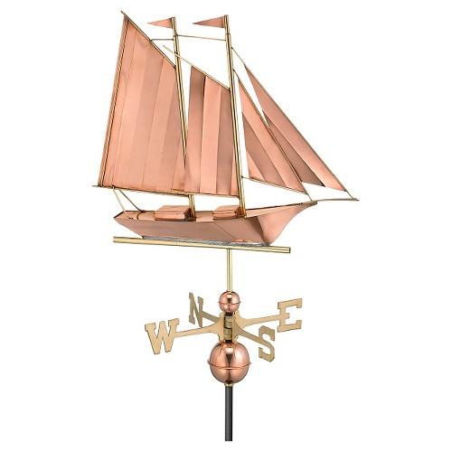Schooner Weathervane - Polished Copper (Brown) - Good Directions