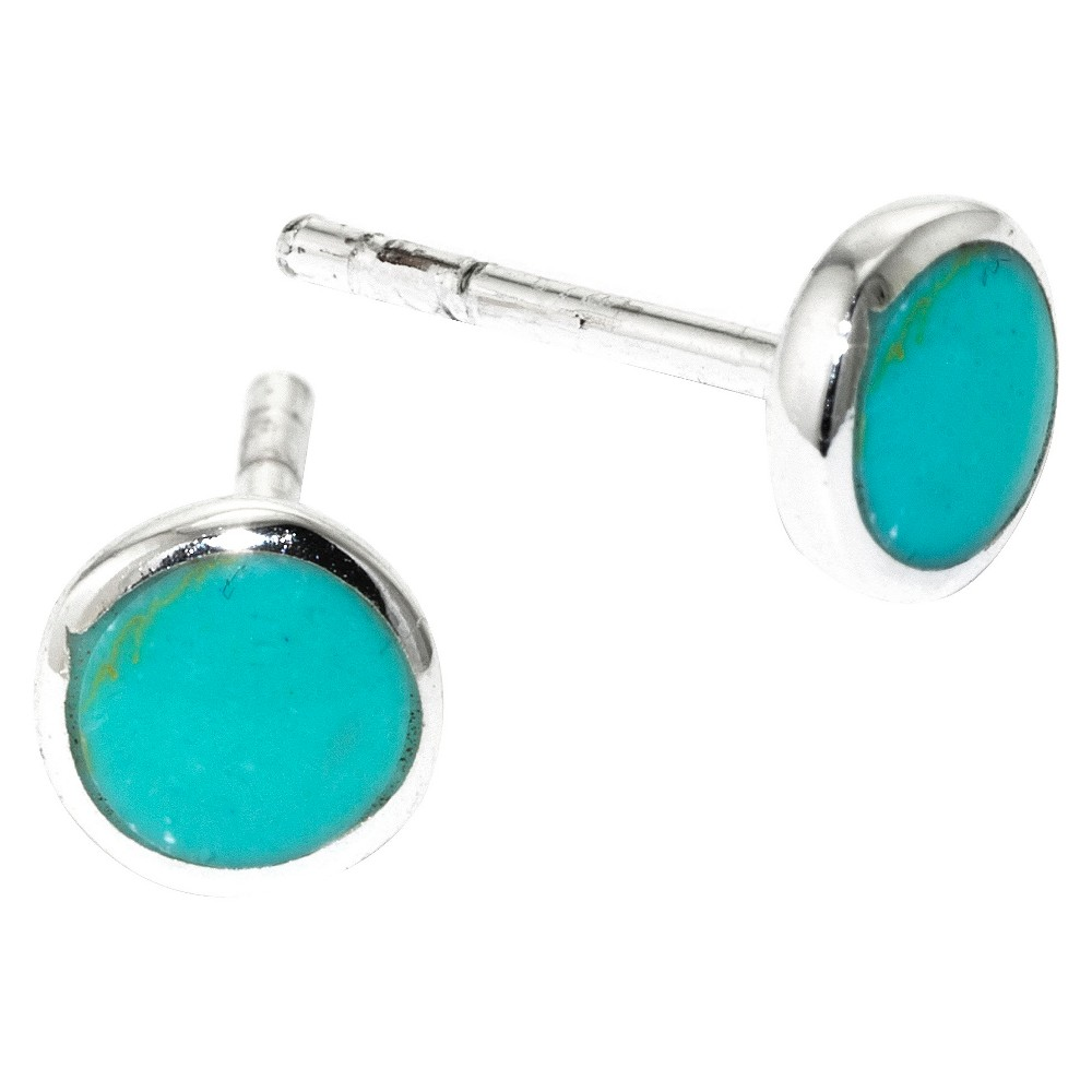 Sterling Silver with Inlay Stud Earrings - Turquoise, Womens