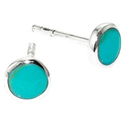 Sterling Silver with Inlay Stud Earrings - Turquoise