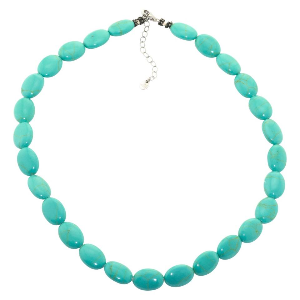 Sterling Silver Beaded Bracelet   Turquoise