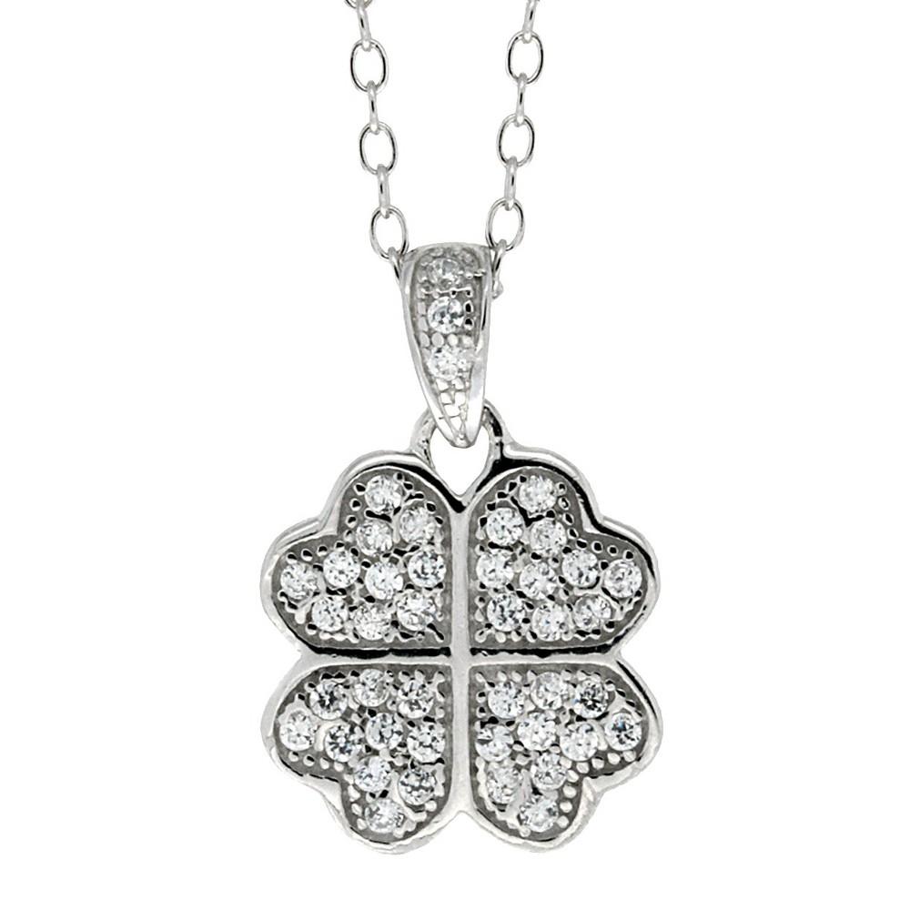 Ellen Sterling Silver Cubic Zirconia Four-leaf Clover Pendant, Girls