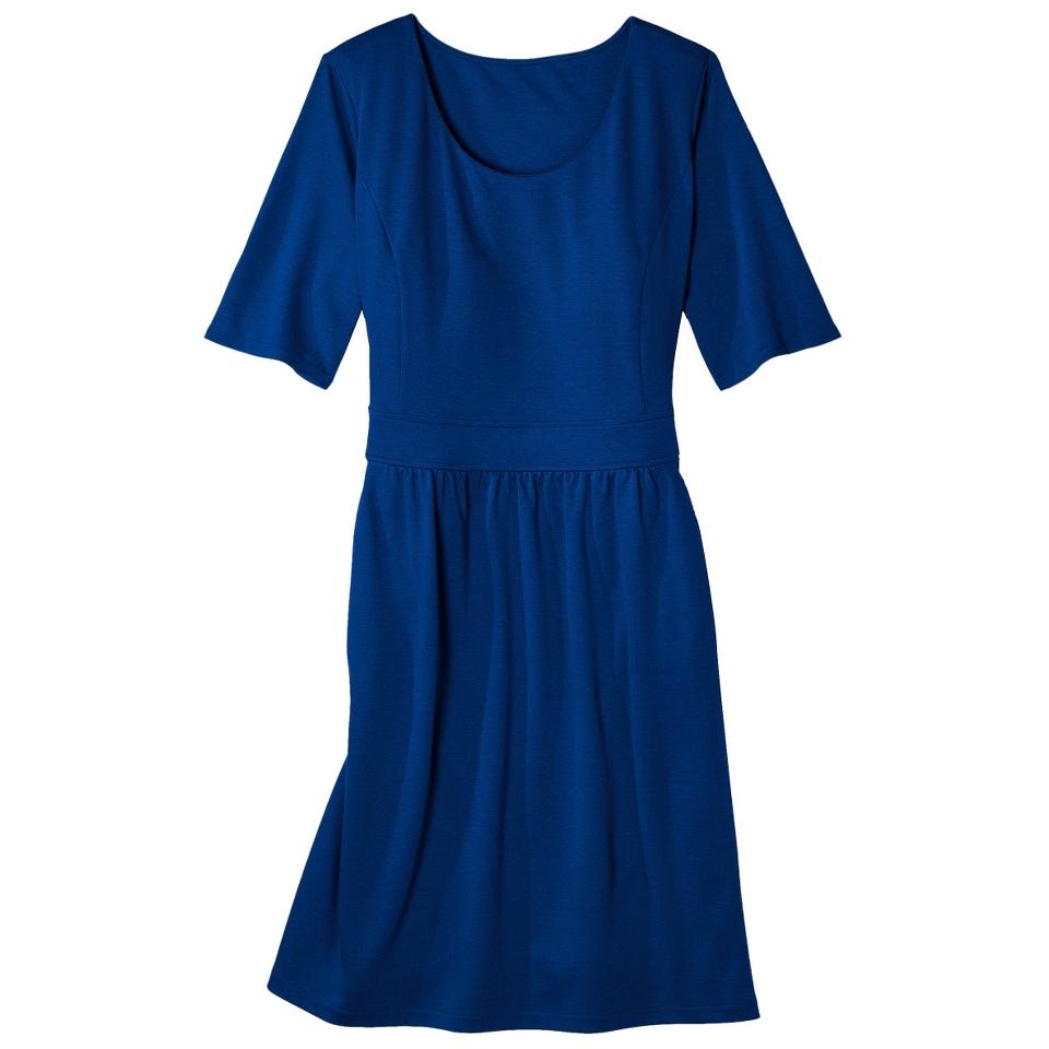 Merona Womens Plus Size Elbow Sleeve Ponte Dress   Blue 2