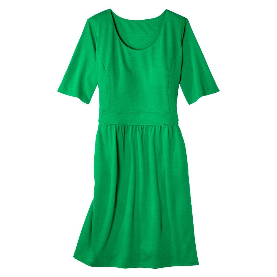 Merona Womens Plus Size Elbow Sleeve Ponte Dress   Green 2
