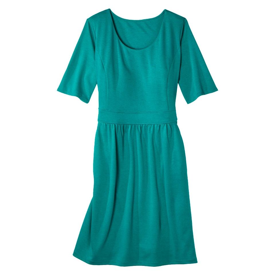 Merona Womens Plus Size Elbow Sleeve Ponte Dress   Monterey Blue 3