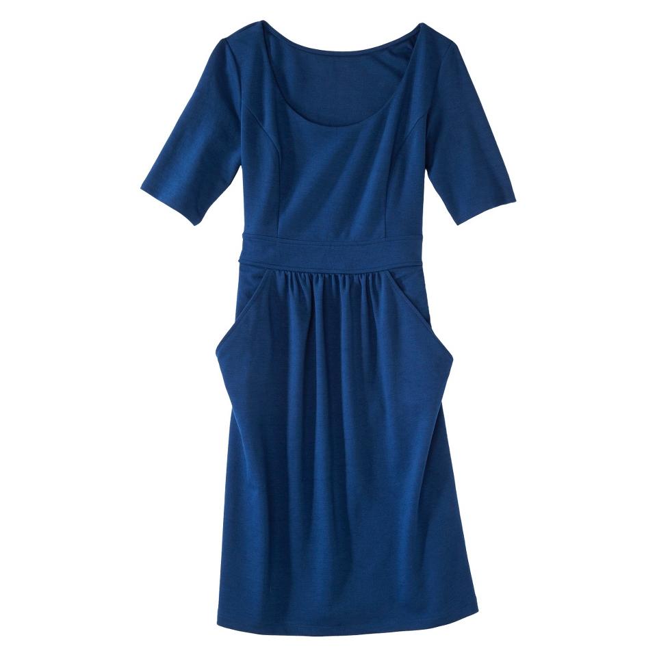 Merona Petites Elbow Sleeve Ponte Dress   Blue MP