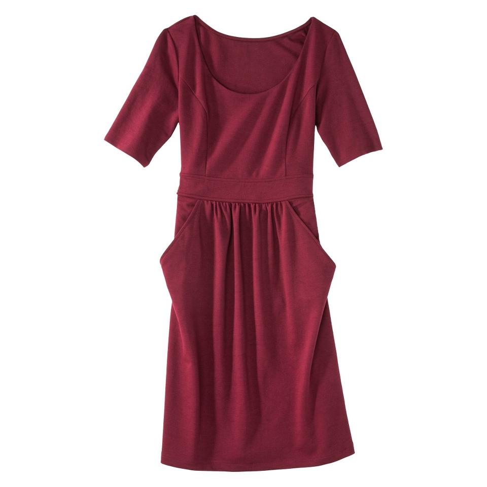 Merona Petites Elbow Sleeve Ponte Dress   Berry SP