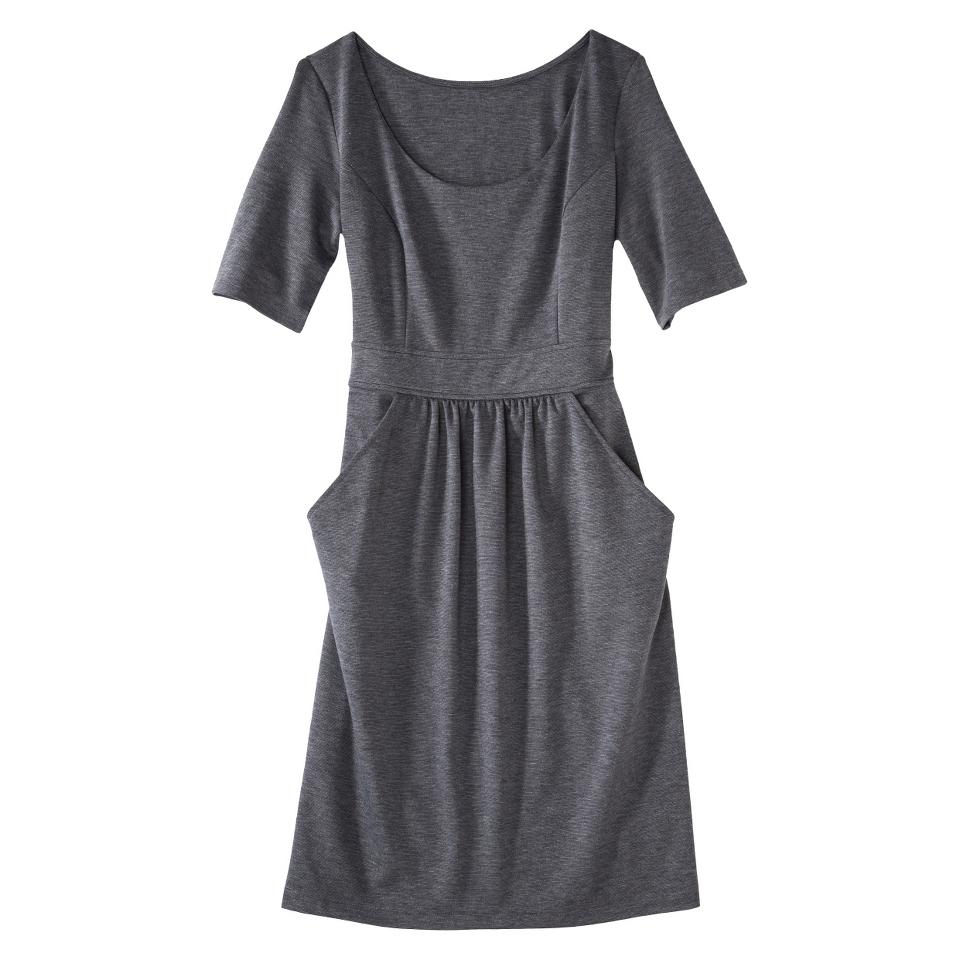 Merona Petites Elbow Sleeve Ponte Dress   Gray LP