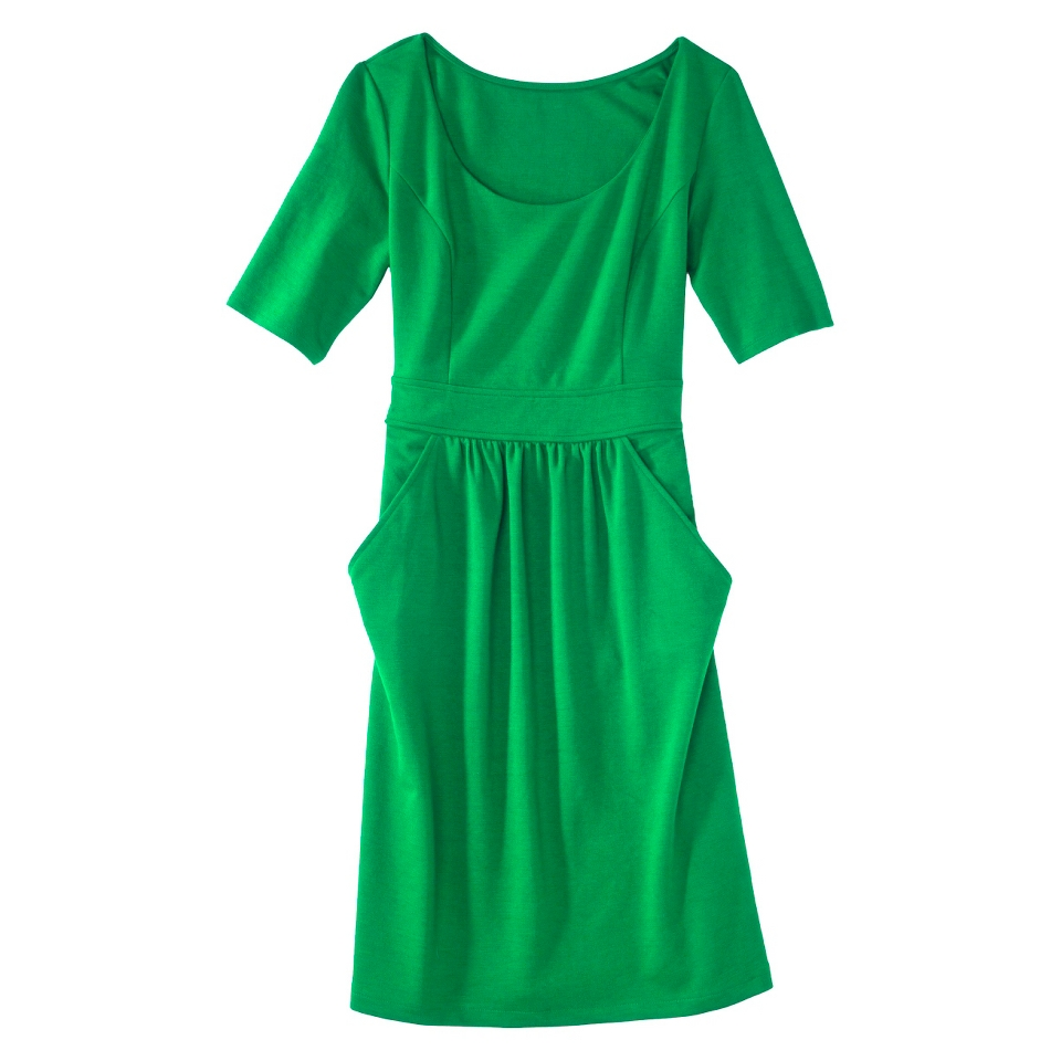 Merona Petites Elbow Sleeve Ponte Dress   Green MP