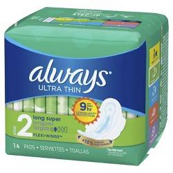 Always Ultra Thin Size 2 Super Pads With Wings - Unscented