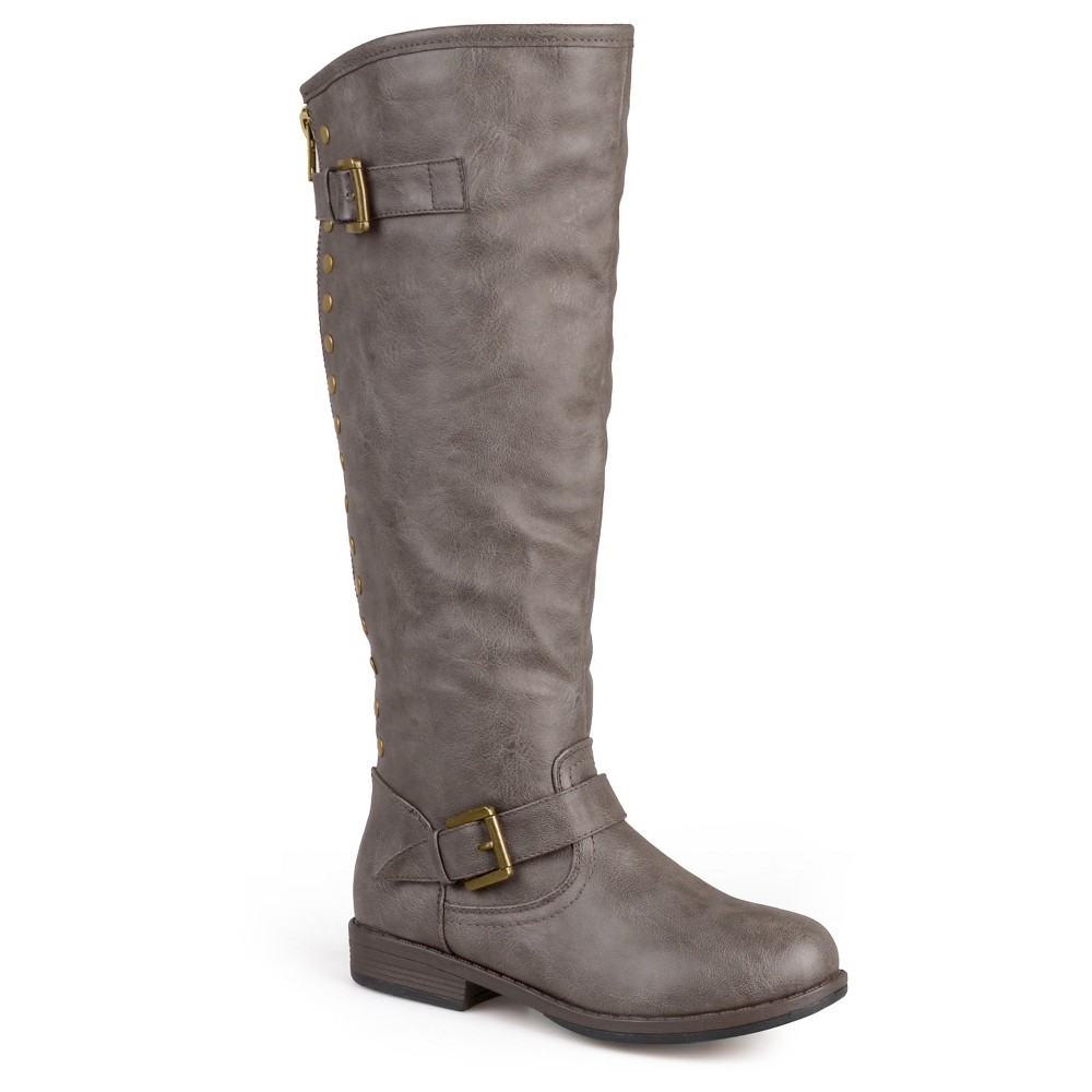 Womens Journee Collection Wide Calf Studded Buckle Detail Boots - Taupe (Brown) 9.5W, Size: 9.5 Wide