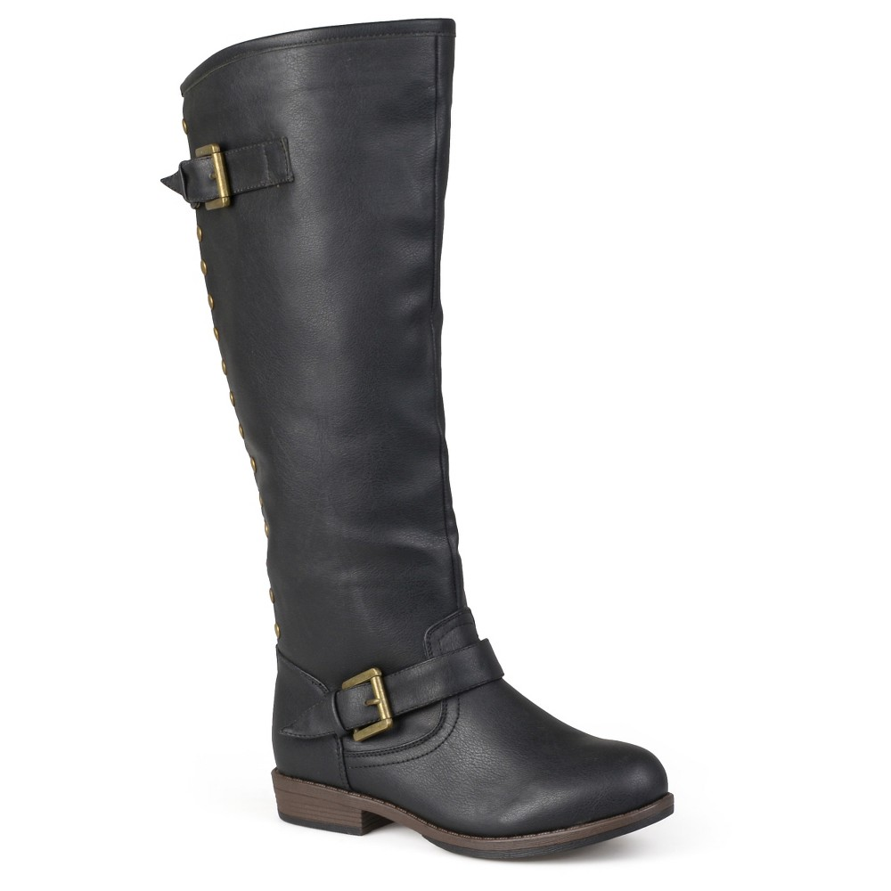 Womens Journee Collection Studded Buckle Detail Boots - Black 10