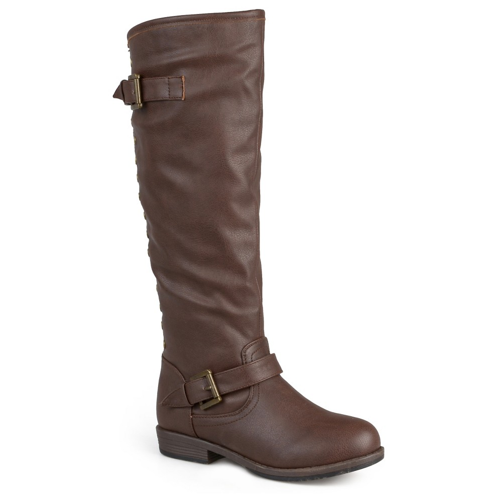 Womens Journee Collection Wide Calf Studded Buckle Detail Boots - Brown 8W, Size: 8 Wide