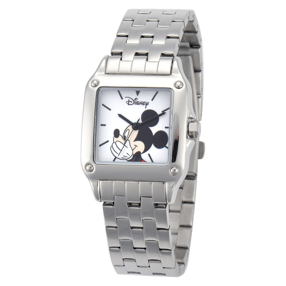 Mens Disney Mickey Mouse Link Watch with Square Dial - Silver