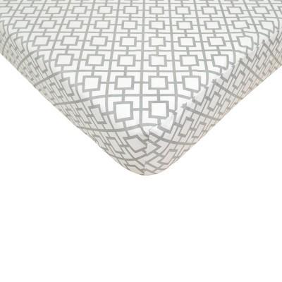 TL Care Gray Lattice Fitted Crib Sheet