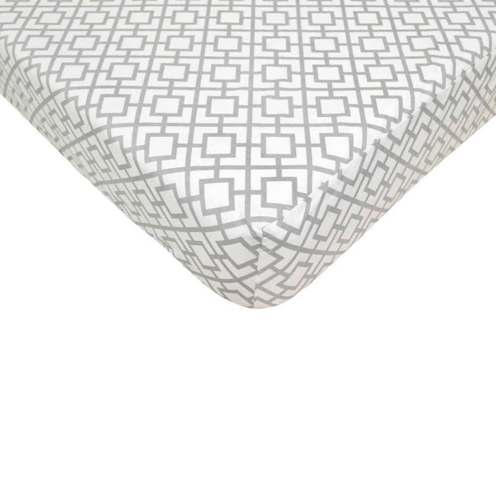 TL Care Gray Lattice Fitted Crib Sheet, Grey